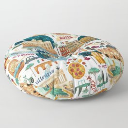 Rome map Floor Pillow