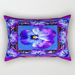 Purple Pansy & Butterflies Melody Abstract Rectangular Pillow