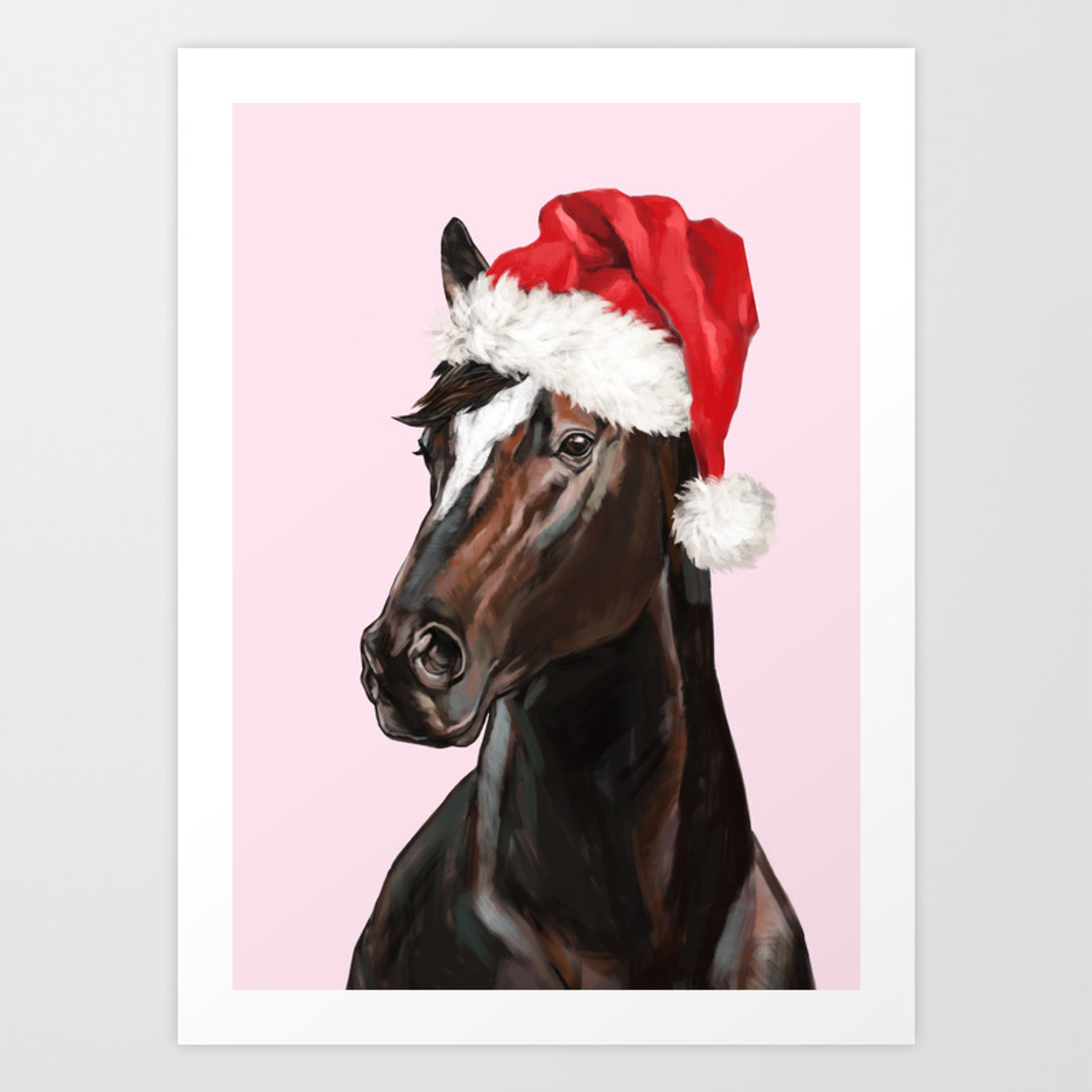 Christmas Horse In Pink Art Print By Bignosework Society6