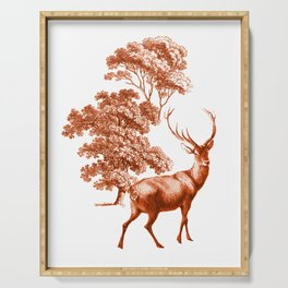 Classic Brown French Toile Autumn Countryside Deer Pattern Serving Tray
