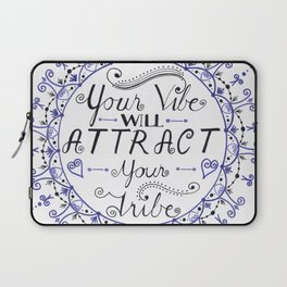 'Your Vibe Will Attract Your Tribe' Quote Mandala Blue Laptop Sleeve