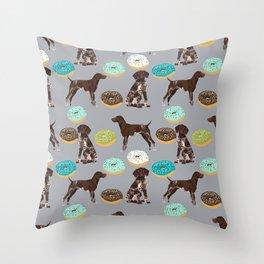 German Shorthair Pointer donuts dog art custom pet portraits of dog breeds by pet friendly Throw Pillow