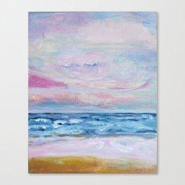 Blush pink abstract nautical Ocean art, Blue sunset beach Canvas Print