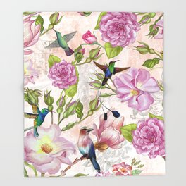 Vintage Roses and Hummingbird Pattern Throw Blanket
