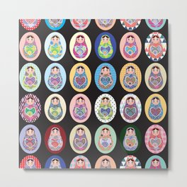 cute doll babushka matryoshka Metal Print