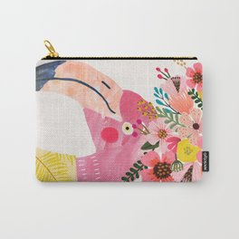 Pink flamingo with flowers on head Carry-All Pouch