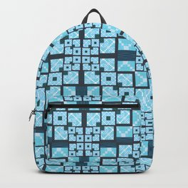 Structured Elegance Blue Grey Squares Geometric Print Backpack
