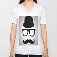 gentleman V-neck T-shirts featuring Gentleman by Amy Copp
