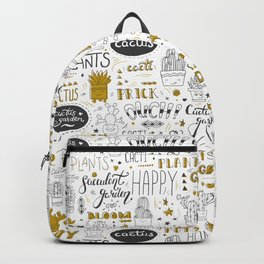 Golden Cactus pattern Backpack