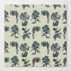 Botanical Florals   Vintage Dark Blue Canvas Print