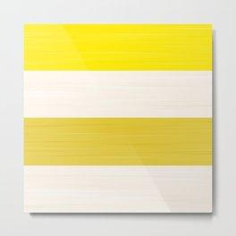 Brush Stroke Stripes: Lemon Meringue Pie Metal Print