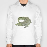 crocodile Hoodies featuring Crocodile by Melrose Illustrations
