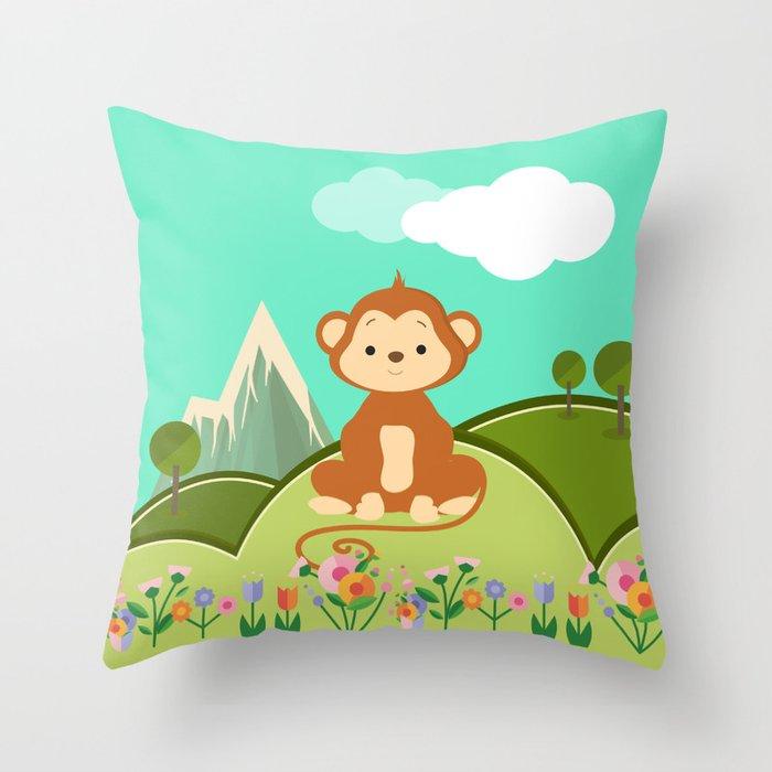 Monkey Nursery Decor Throw Pillow By Baronykarony