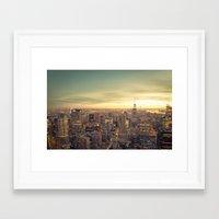 new york skyline Framed Art Prints featuring New York Skyline Cityscape by Vivienne Gucwa
