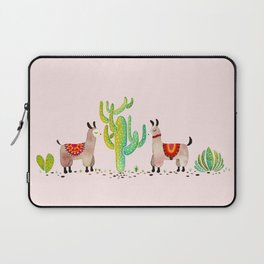 Cute alpacas with pink background Laptop Sleeve
