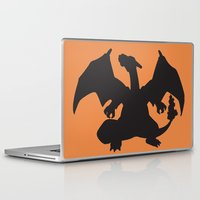 charizard Laptop & iPad Skins featuring Charizard Silhouette by Jessica Wray