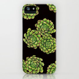 Green Succulents on Black iPhone Case