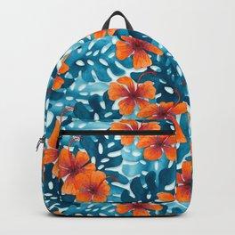 Tropical Hibiscus Pattern Orange Backpack
