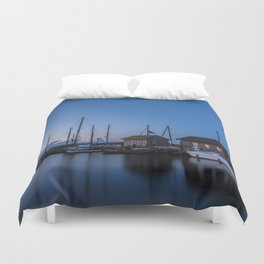 Blue hour at harbour I - Ocean Summer Night Boats Duvet Cover