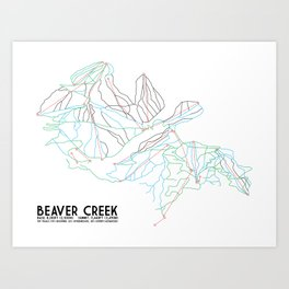 Beaver Creek, CO - Minimalist Trail Map Art Print