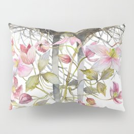 Stork Nest in Spring, Nature, Clematis, Botanicals, Blossoms Pillow Sham