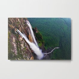 On the edge of Angel Falls, Venezuela Metal Print