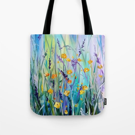 Flowers field at dawn Tote Bag