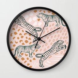 Tiger Print Blush Wall Clock