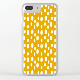 Yellow pattern with white spots Clear iPhone Case