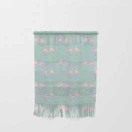 Flamingo Love Blue Wall Hanging