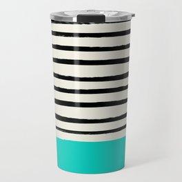 Aqua & Stripes Travel Mug