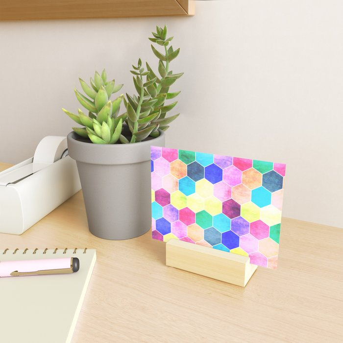 Honeycombs print, colorful hexagons Mini Art Print