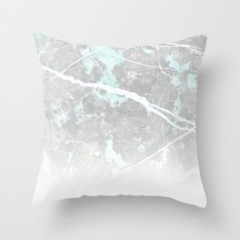 Pastel Teal & Grey Marble - Ombre Throw Pillow