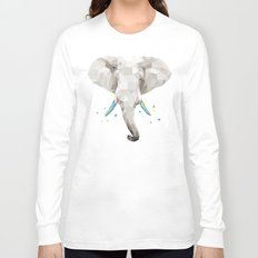 Geosafari | Elephant (White) Long Sleeve T-shirt