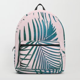 Green Palm Leaves on Light Pink Backpack