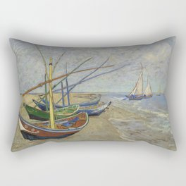 "Vincent Van Gogh ""Fishing boats on the Beach at Les Saintes-Maries-de-la-Mer"" Rectangular Pillow"