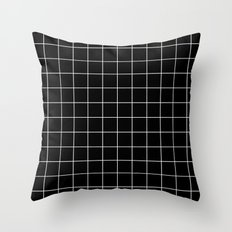 Black White Grid Throw Pillow