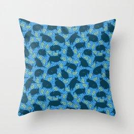 Blue Cats-n-Paisleys Throw Pillow