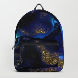 Gold and Indigo Malachite Marble Backpack