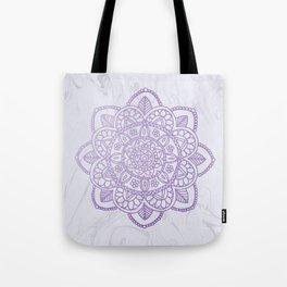 Lavender Mandala on White Marble Tote Bag