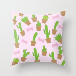 Cute Cacti and Bows Throw Pillow