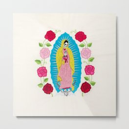 Skull Virgin of Guadalupe_ Hand embroidered Metal Print