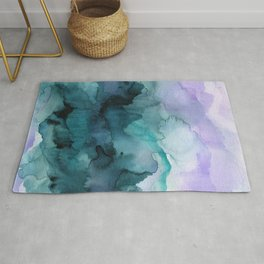 Dream away abstract watercolor Rug