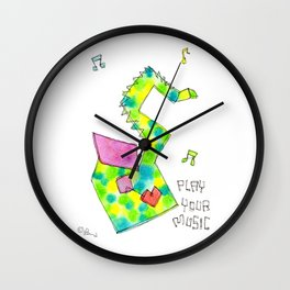 """Play Your Music"" Original Watercolor Painting Colorful Saxophone by Lenna Arty Wall Clock"
