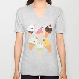 Kawaii Happy Ice Creams Unisex V-Neck