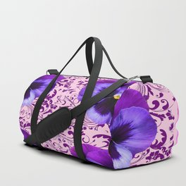 PINK ART &  LILAC PURPLE PANSY SPRING FLORAL PATTERN Duffle Bag