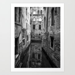 monochrome reflections - venice Art Print