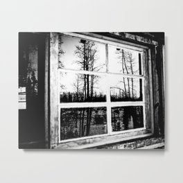 Lumberjack Cabin Window // B W Grainy Reflection of the Sunset and Trees Metal Print