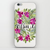 tropical iPhone & iPod Skins featuring Killin' It – Tropical Pink by Cat Coquillette