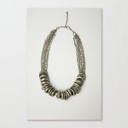 Mongolian silver necklace Canvas Print